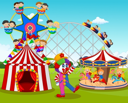 illustration of Cartoon happy children and clown in the amusement park Иллюстрация