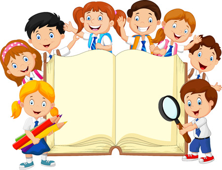 book background: illustration of Cartoon school children with book isolated