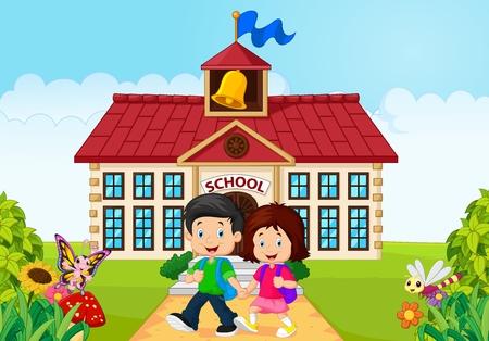 school yard: illustration of Cartoon little children leaving school