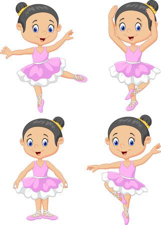 dancers: illustration of Cartoon little ballet dancer collection set