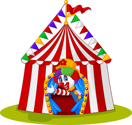cirque: illustration of Cartoon clown come out from circus tent Illustration