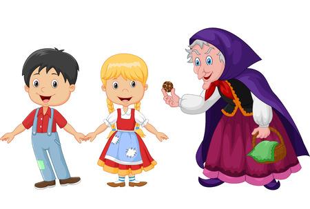 白い背景に分離された魔女と古典的な子供の物語ヘンゼルとグレーテルの図