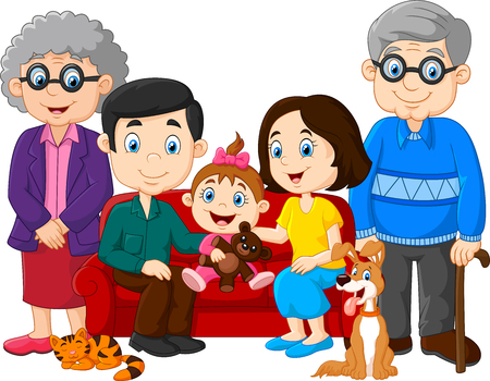 grandpa and grandma: illustration of Cartoon happy family isolated on white background Illustration