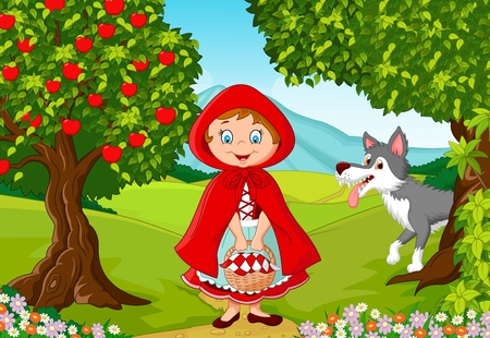green and red: illustration of Little Red Riding Hood meeting with a wolf