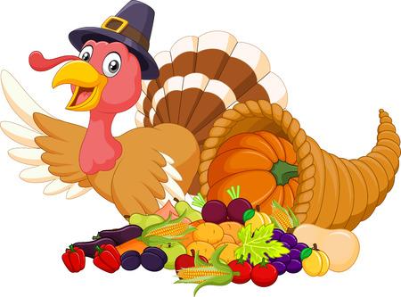 thanksgiving cornucopia: illustration of Cartoon turkey with horn of plenty isolated on white background Illustration