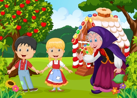story: illustration of Classic children story Hansel and Gretel