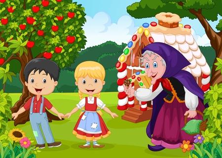 bruja: ilustración de historia de los niños clásico Hansel y Gretel