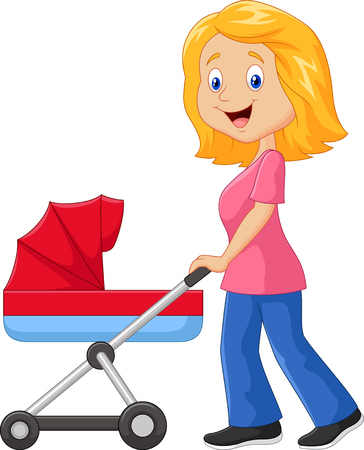 the infancy: illustration of Cartoon a mother pushing a baby stroller