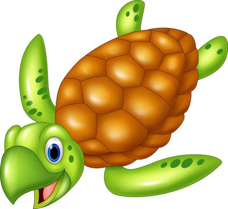 sea turtle: illustration of Adorable sea turtle. isolated on white background