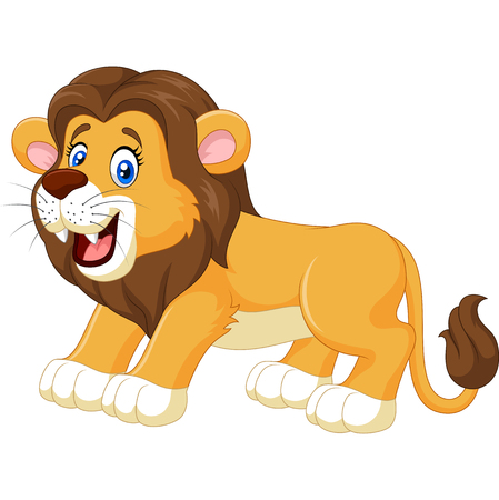 giggle: Vector illustration of Cartoon happy lion isolated on white background
