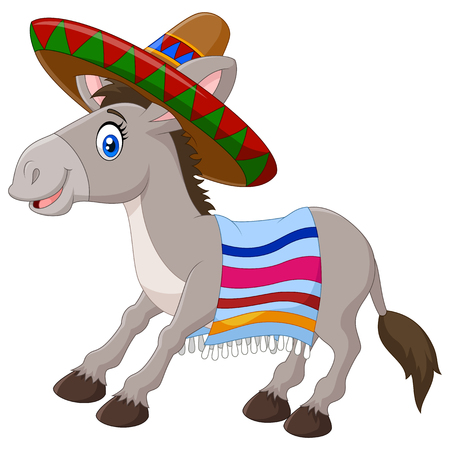 Vector illustration of Mexican donkey wearing a sombrero and a colorful blanket. isolated on white background