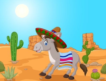 wasteland: illustration of Mexican donkey wearing a sombrero and a colorful blanket.