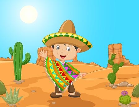 traje mexicano: ilustración de dibujos animados mano niño mexicano que agita