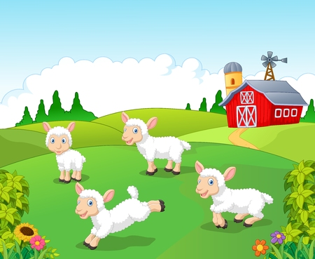 illustration of Cute cartoon sheep collection set with farm background