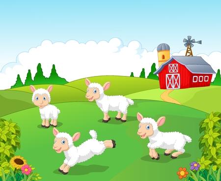 libro caricatura: Ilustraci�n de la colecci�n linda de ovejas de la historieta fij� con el fondo de la granja