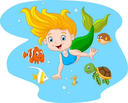clown fish: illustration of Happy mermaid with sea animal on sea water background