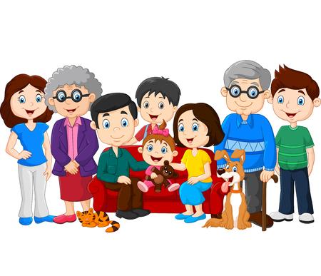 ilustrace velké rodiny s prarodiči na bílém pozadí