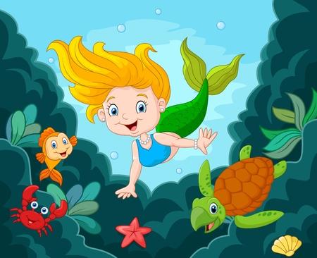 pequeño: ilustración de Sirenita con animales marinos Vectores
