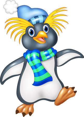 penguin cartoon: Vector illustration of Penguin is standing use a shawl and hat cap Illustration