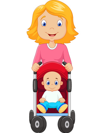 the infancy: Vector illustration of Cartoon a mother pushing a baby stroller