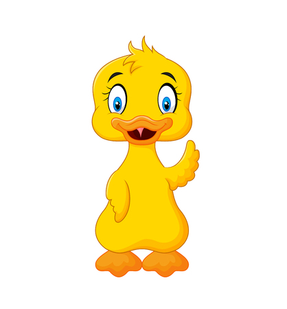 squeak: Vector illustration of Cute baby duck hand waving isolated on white background Illustration