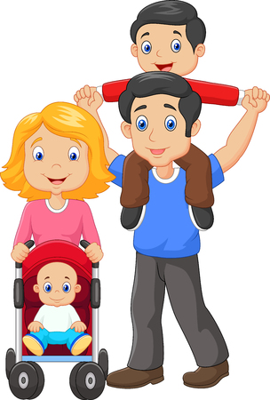 piggyback ride: Vector illustration of Father giving his son piggyback ride with mother pushing baby carriage