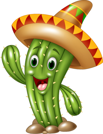 Vector illustration of Happy cactus waving hand isolated on white background