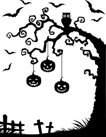 mosca caricatura: Ilustraci�n vectorial de Halloween de fondo con la silueta del �rbol muerto, b�ho y de la calabaza
