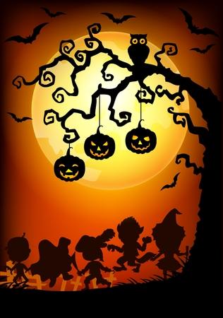 calabaza caricatura: Ilustraci�n vectorial de fondo de Halloween con ni�os felices Silueta ataviadas con los trajes de Halloween