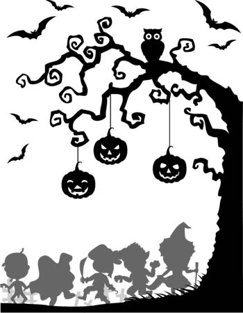 night owl: Vector illustration of Halloween background with happy kids silhouette wearing Halloween costume