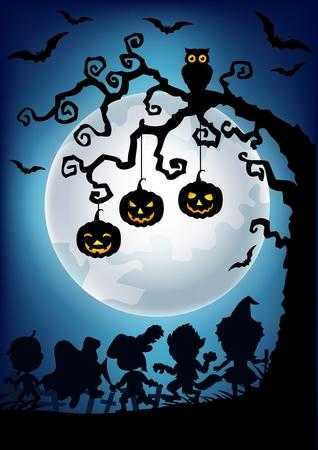 halloween costume: Vector illustration of Halloween background with happy kids silhouette wearing Halloween costume