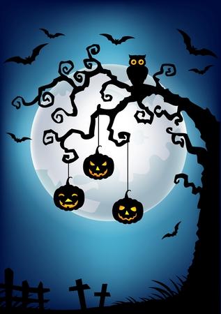 arboles caricatura: Ilustración vectorial de Halloween de fondo con la silueta del árbol muerto, búho y de la calabaza