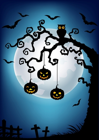 cartoon trees: Vector illustration of Halloween background with dead tree silhouette, owl and pumpkin