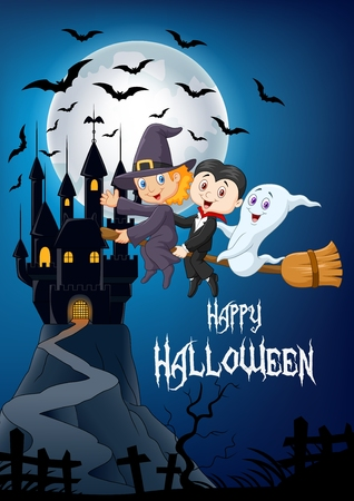 halloween castle: Vector illustration of Little children and ghost fly with broom over Halloween background