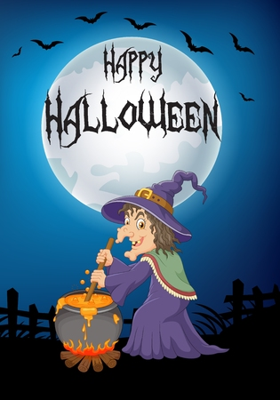 stirring: Vector illustration of The ugly witch is stirring the potion with big moon background