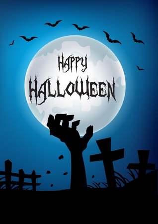 graves: Vector illustration of Halloween background with hand out from the grave