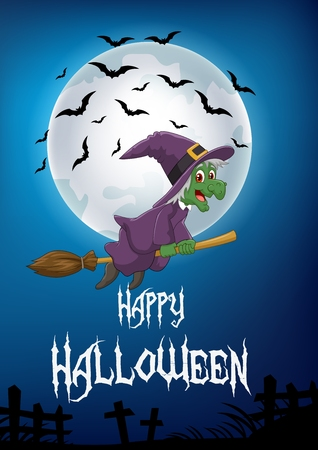 haunt: Vector illustration of Cartoon witch flying on broom stick with full moon background