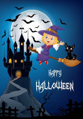 broomstick: Vector illustration of Little witch and a black cat flying on broomstick with full moon and castle background Illustration