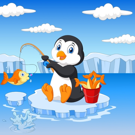 Vector illustration of Cartoon penguin fishing on the ice