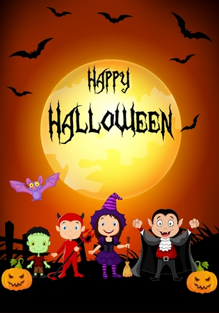 Vector illustration of Halloween background with little kids wearing Halloween costume