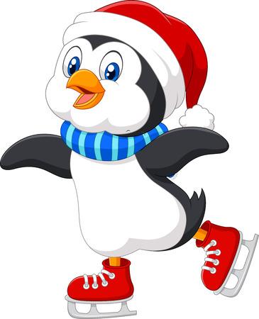 pinguinos navidenos: Ilustración del vector del pingüino lindo de dibujos animados haciendo patinaje sobre hielo aislados sobre fondo blanco