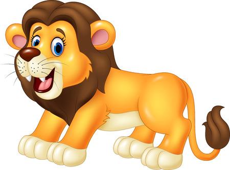 selva caricatura: Ilustración vectorial de feliz león animal. aislado en fondo blanco Vectores