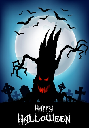whole creature: Vector illustration of Halloween background with scary tree silhouette Illustration