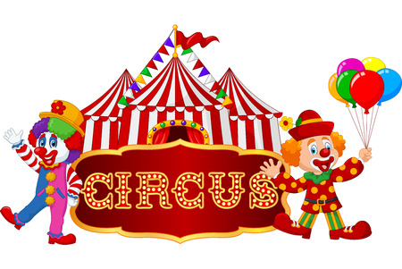 Vector illustration of Circus tent with clown. isolated on white background Çizim