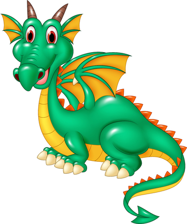 green dragon: vector illustration of Cartoon happy green dragon isolated on white background