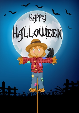 scare: vector illustration of A crow perched on the Scarecrow. halloween background Illustration