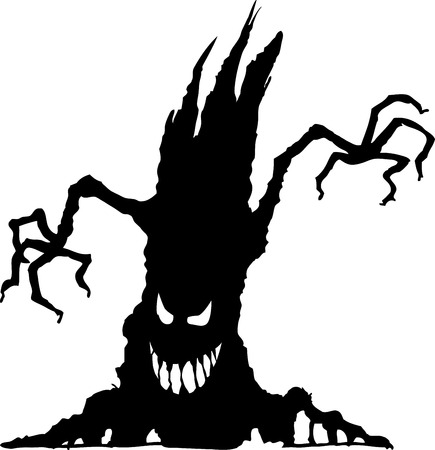 vector illustration of halloween tree silhouetteisolated on white background