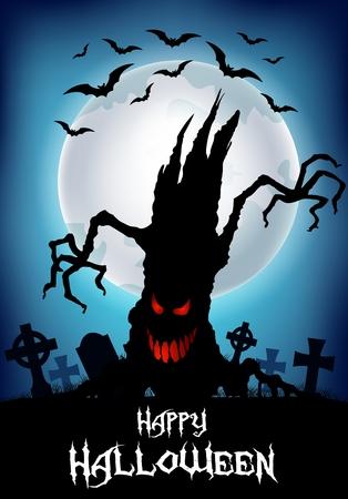 arboles secos: Vector ilustración de fondo de Halloween con la silueta del árbol de miedo