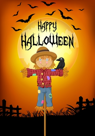 corn poppy: Vector illustration of A crow perched on the Scarecrow. halloween background Illustration