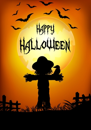 autumn scarecrow: Vector illustration of Halloween background with scarecrow silhouette